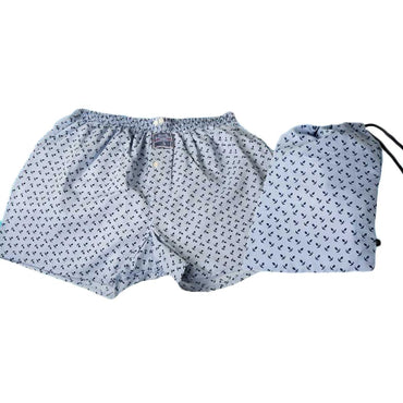 Men's Blue Anchor Cotton Boxer Brief Underwear - Amedeo Exclusive