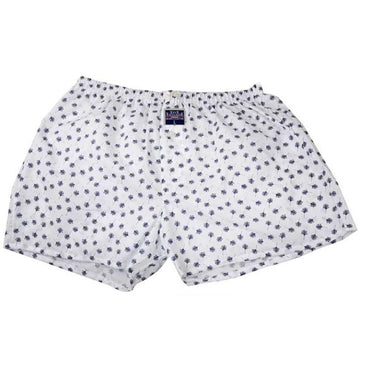 Mens White Blue Leafs Cotton Boxer Brief Underwear