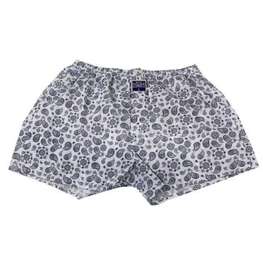 Mens White Grey Paisley Cotton Boxer Brief Underwear