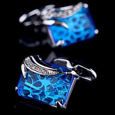 Men's Stainless Steel Exclusive Gold + Light Blue Squares Cufflinks with Box