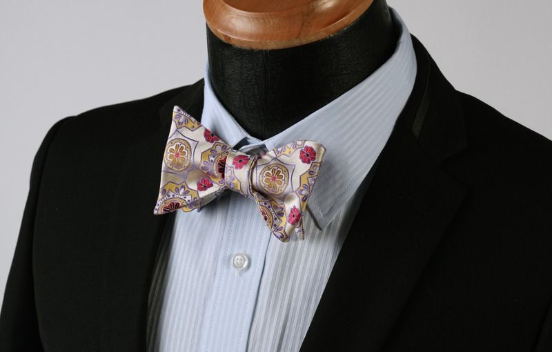 Red Gold & Yellow Floral Mens Silk Self tie Bow Tie with Pocket Squares Set - Amedeo Exclusive