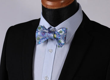 Men's Blue and Yellow Floral Silk Self Tie Bow Tie with Pocket Handkerchief
