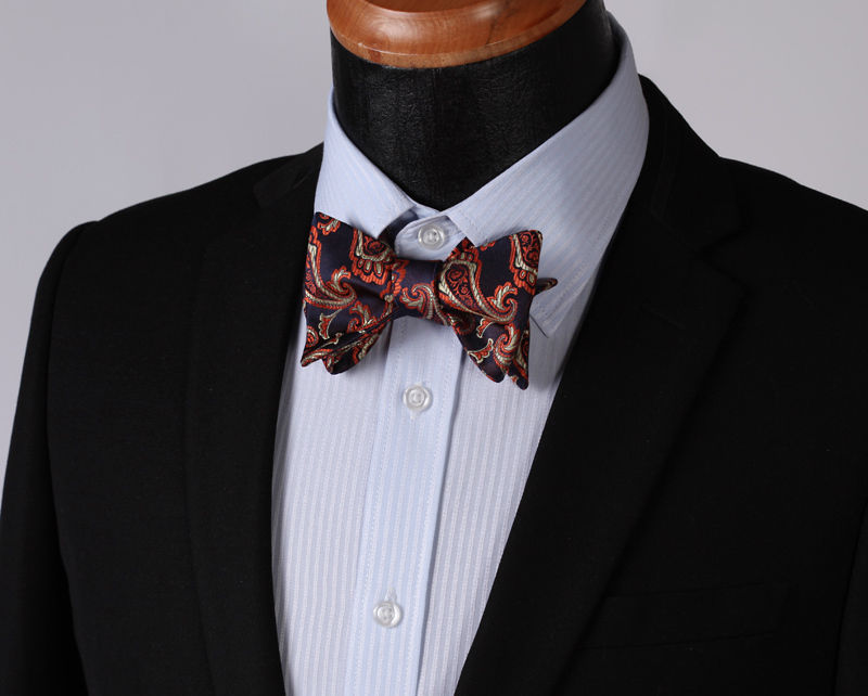 Men's Silk Paisley Self Bow Tie Matching Pocket Handkerchief