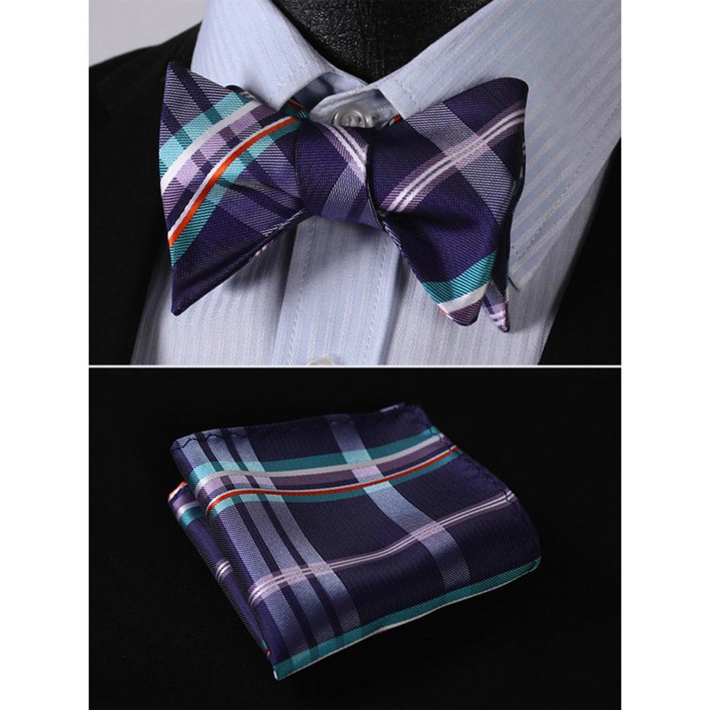 Men's Purple Aqua Orange Check Bow Tie & Pocket Handkerchief - Identical 149 - Amedeo Exclusive