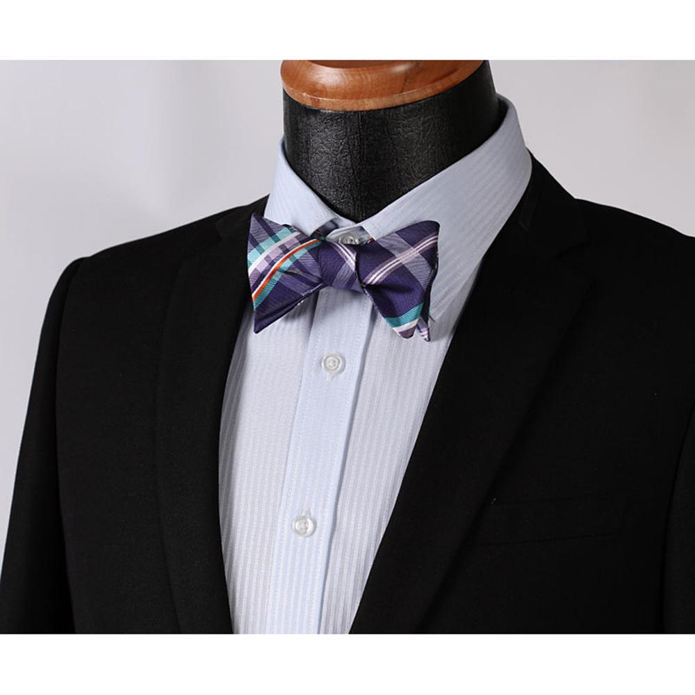 Men's Purple Aqua Orange Check Bow Tie & Pocket Handkerchief - Identical 5 - Amedeo Exclusive