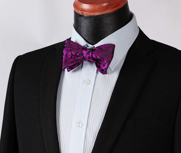 Men's Hot Purple Black Floral Silk Self Bow Tie With Handkerchief