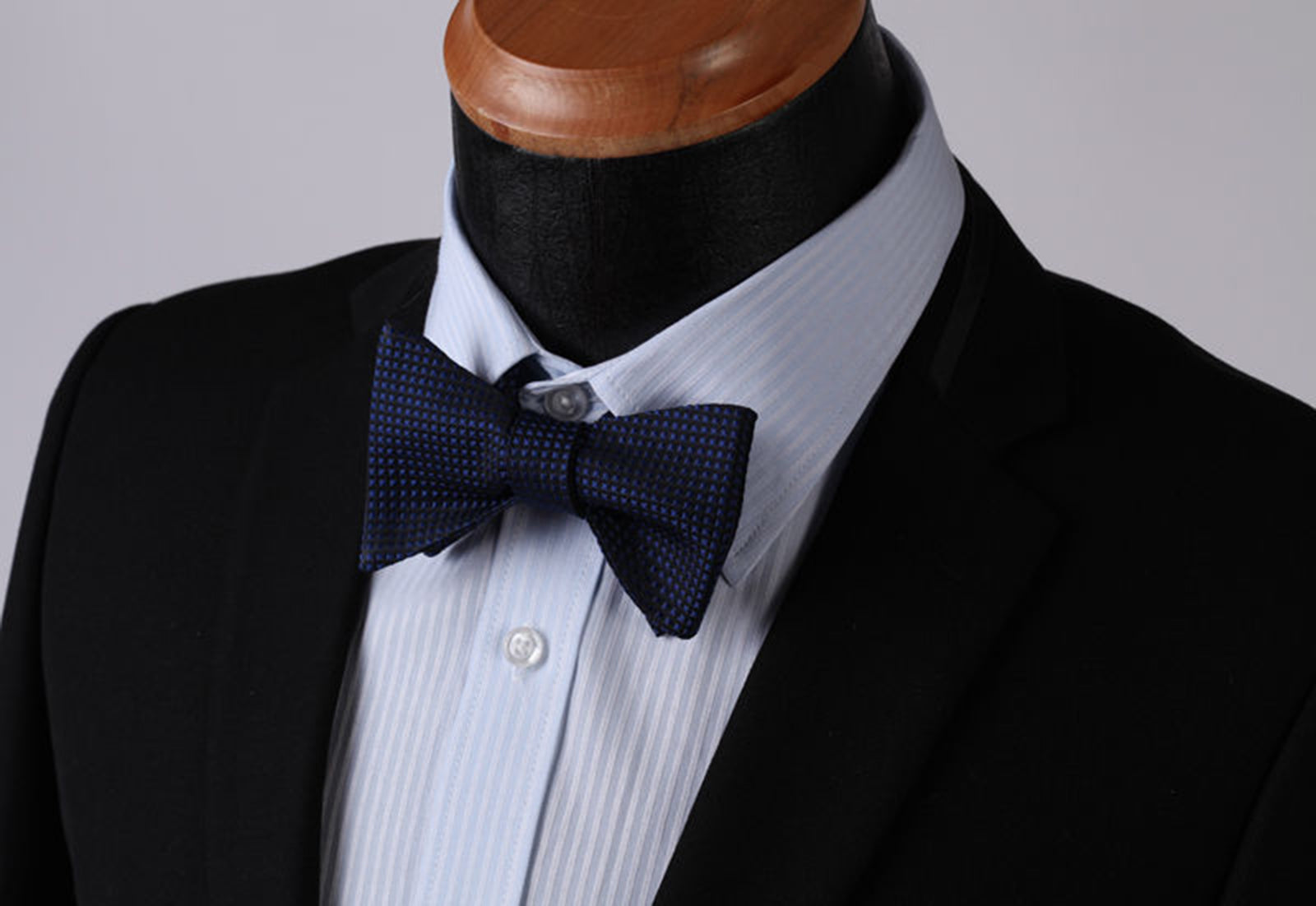 Navy Blue Check Mens Silk Self tie Bow Tie with Pocket Squares Set - Amedeo Exclusive