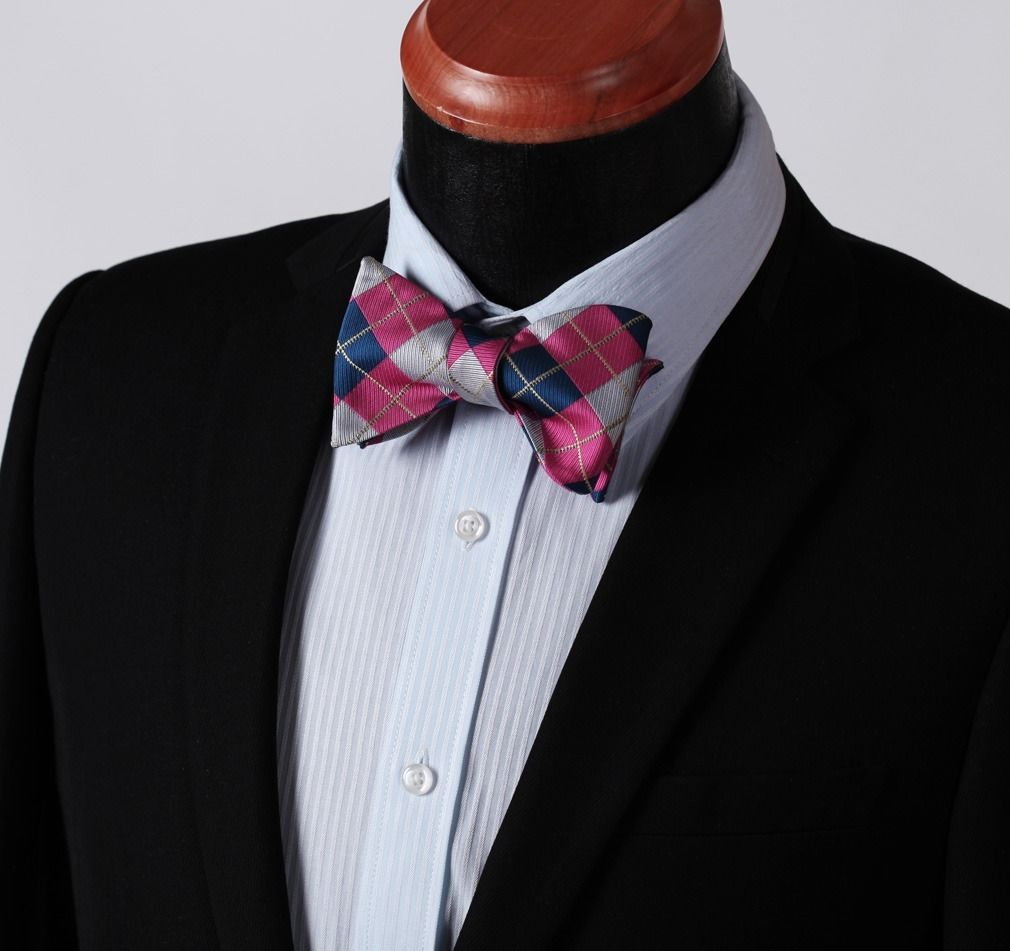 Men's Pink Gray Check Silk Self Bow Tie & Handkerchief