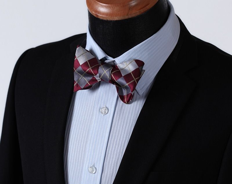 Men's Burgundy Gray check Silk Self Bow Tie & Handkerchief - Amedeo Exclusive