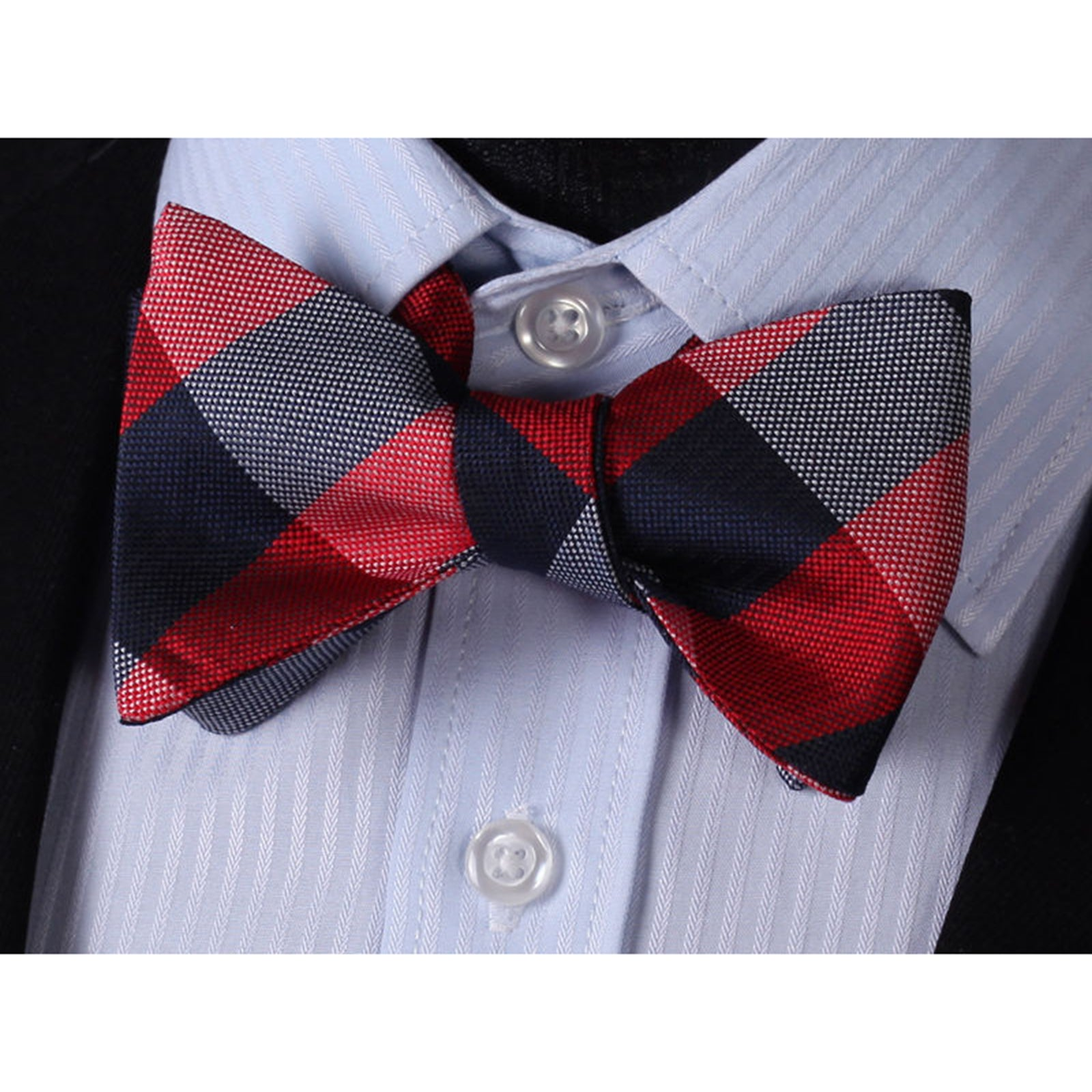Men's Red Navy Check Silk Self Bow Tie With Handkerchief