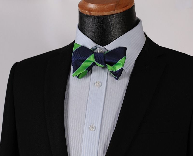 Green Blue Mens Silk Self tie Bow Tie with Pocket Squares Set - Amedeo Exclusive