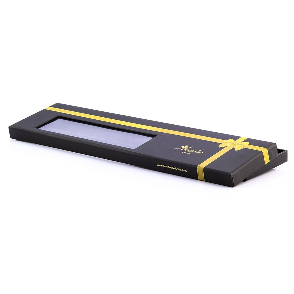 Men's Fashion Black Yellow Stripes Squares Neck Tie Gift box