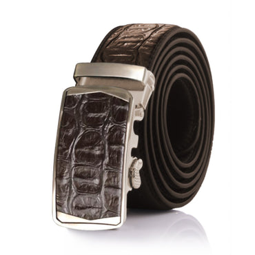 Amedeo Exclusive Men Crocodile Brown Leather Belt - Amedeo Exclusive
