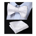 Men's Silk White Self Bow Tie Matching Handkerchief