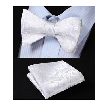 Men's Silk White Self Bow Tie Matching Handkerchief - Amedeo Exclusive