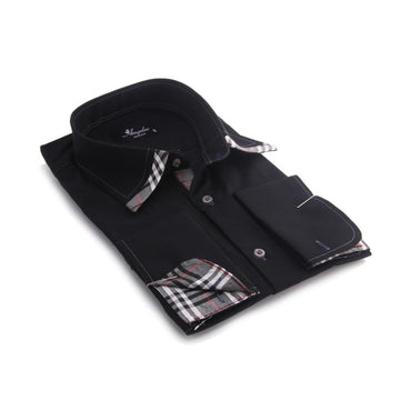 Men's Black with Grey Plaid  French Cuff Dress Shirt