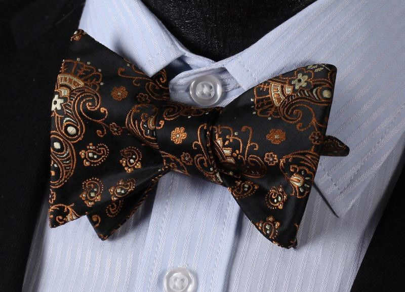 Brown Paisley Mens Silk Self tie Bow Tie with Pocket Squares Set - Amedeo Exclusive