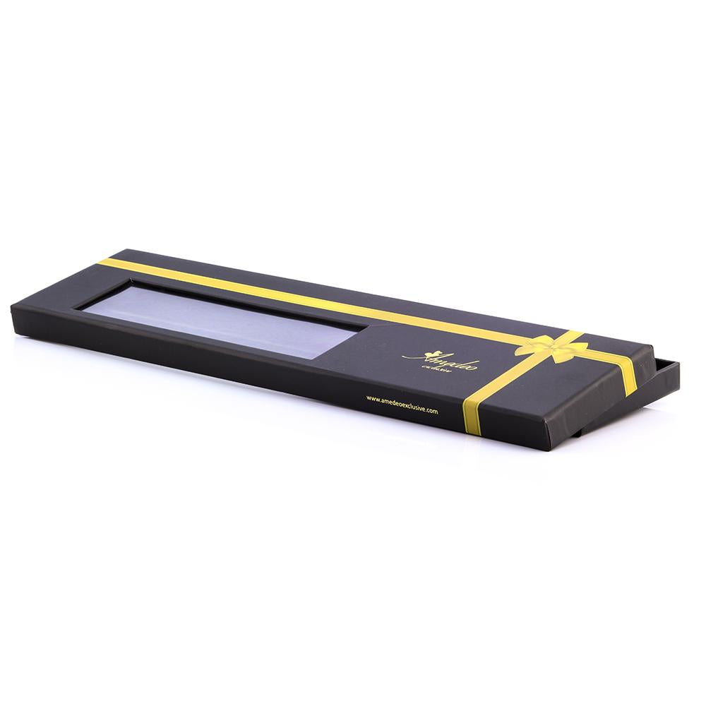 Men's jacquard Black Yellow Stripes Premium Neck Tie With Gift Box - Amedeo Exclusive