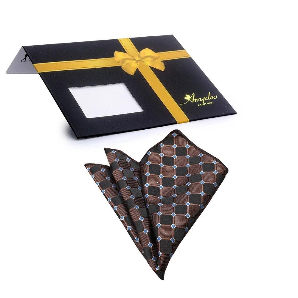 Pocket Black Brown Blue Squares Hanky Handkerchief-Amedeo Exclusive - Amedeo Exclusive