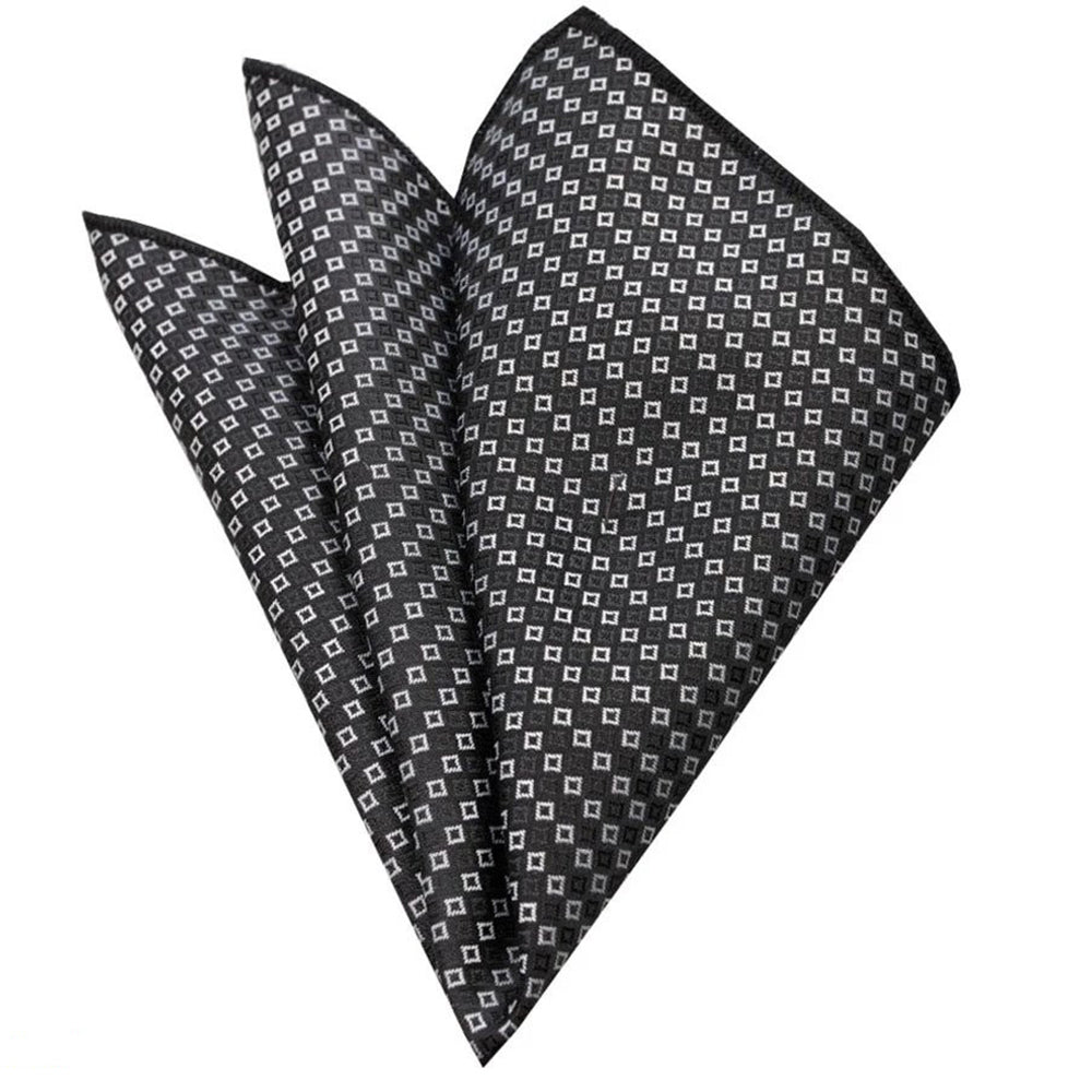 Pocket Grey White Squares Hanky Handkerchief-Amedeo Exclusive - Amedeo Exclusive