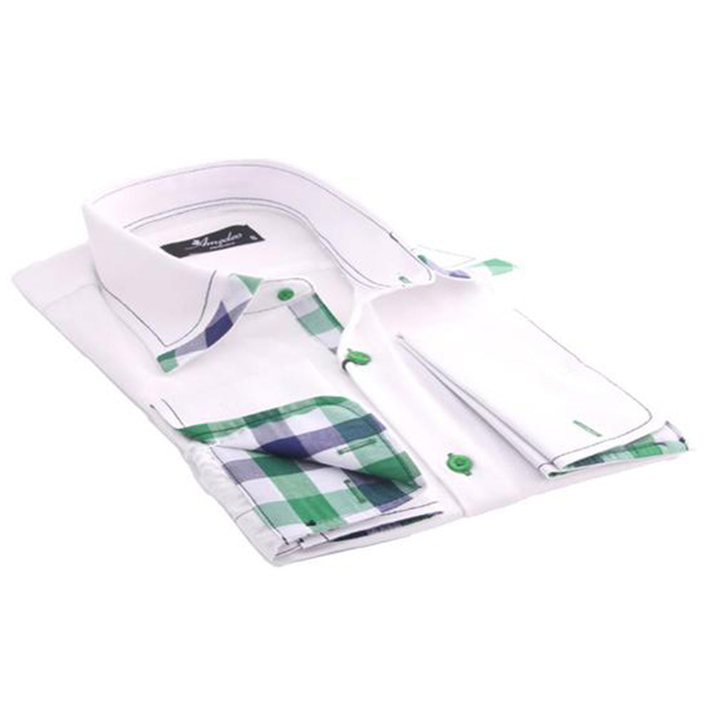 White with Green & Black Check Men's Dress Shirt, Button Down Slim Fit With French Cuff Casual And Formal