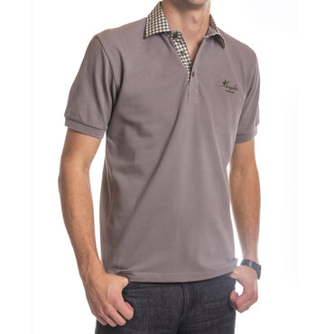 Men's Light Grey Checkered Turkey Slim Fit Mesh Polo Shirt - Amedeo Exclusive