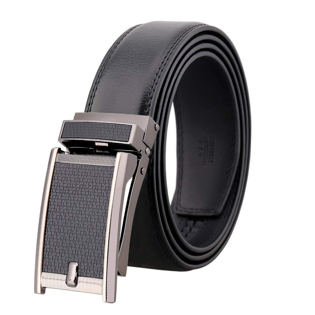Amedeo Exclusive Men's Brown Slide Black Textured Buckle Black Leather Belt - Amedeo Exclusive