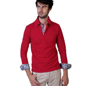 Red Paisley Mens Slim Fit Polo Shirts - 100% Soft Cotton - Tailored Comfortable Fit - Amedeo Exclusive
