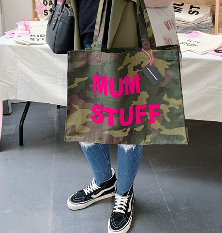 Personalised camouflage and neon pink tote bag from my bags of stuff