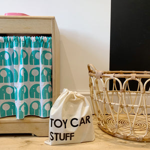my bags of stuff, toy car stuff small drawstring bag