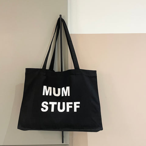 PERSONALISED BLACK TOTE WITH WHITE WRITING