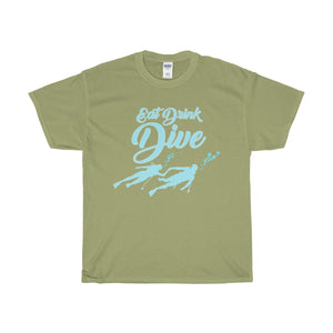 Eat Drink Dive Unisex Heavy Cotton Tee - PureDesignTees