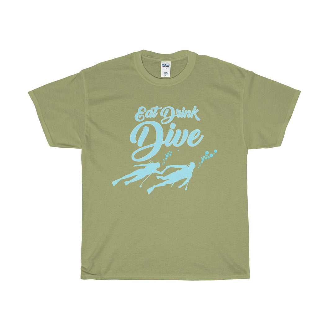 Eat Drink Dive Unisex Heavy Cotton Tee-T-Shirt-PureDesignTees