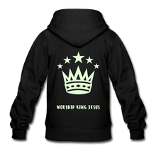 Load image into Gallery viewer, Glow in the Dark Worship King Jesus Gildan Heavy Blend Youth Zip Hoodie-Gildan Heavy Blend Youth Zip Hoodie-PureDesignTees
