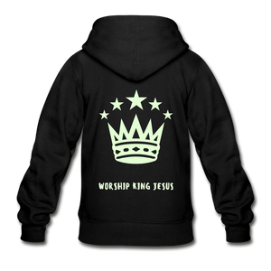 Glow in the Dark Worship King Jesus Gildan Heavy Blend Youth Zip Hoodie-Gildan Heavy Blend Youth Zip Hoodie-PureDesignTees