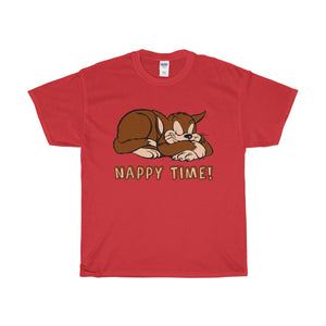 Nappy Time! Sleeping Cat Heavy Cotton T-Shirt - PureDesignTees
