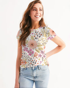 Flower Pattern White Pink Women's Tee-cloth-PureDesignTees