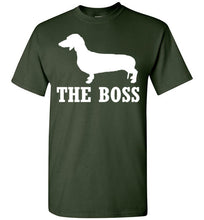 Load image into Gallery viewer, Dachshund is the Boss Short-Sleeve T-Shirt-PureDesignTees