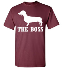 Load image into Gallery viewer, Dachshund the Boss Youth Short-Sleeve T-Shirt-T-Shirt-PureDesignTees