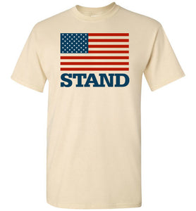 Stand with American Flag Short Sleeve T-shirt-T-Shirt-PureDesignTees