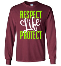 Load image into Gallery viewer, Respect Protect Life Long-Sleeve T-Shirt - PureDesignTees