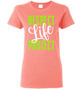 Respect Protect Life Ladies Short-Sleeve T-Shirt-T-Shirt-PureDesignTees