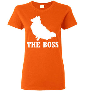 Pomeranian the Boss Ladies Short-Sleeve T-Shirt-T-Shirt-PureDesignTees