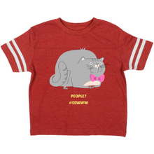Load image into Gallery viewer, Cute Cat People? #Eewww Vintage Toddler Football T-shirt-Toddler Football T-shirt-PureDesignTees