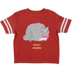 Cute Cat People? #Eewww Vintage Toddler Football T-shirt-Toddler Football T-shirt-PureDesignTees