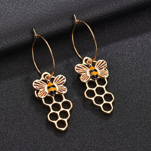 Fashion Women's Enamel Hollow Bee Honeycomb Dangle Earrings-Earrings-PureDesignTees
