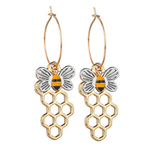 Load image into Gallery viewer, Fashion Women's Enamel Hollow Bee Honeycomb Dangle Earrings-Earrings-PureDesignTees