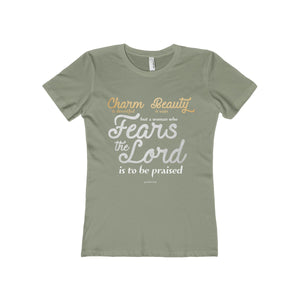 A Woman Who Fears the Lord is to be Praised Women's The Boyfriend Tee-T-Shirt-PureDesignTees