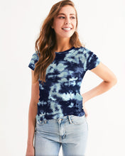 Load image into Gallery viewer, Blue Tie Dye Women's Tee-cloth-PureDesignTees