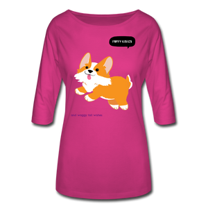 Puppy Kisses and Waggy Tail Wishes Women's 3/4 Sleeve Shirt-Women's 3/4 Sleeve Shirt-PureDesignTees